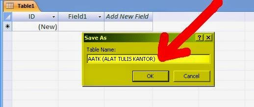 muncul kotak dialog untuk merubah/menyimpan nama table, dan isi nama table nya, sesuai data yang akan kita buat. disini saya membuat tablenya dengan nama ATK