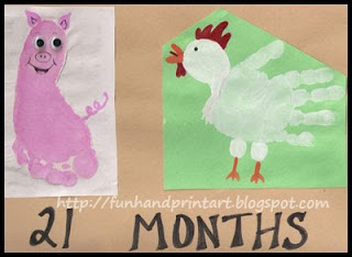 Footprint Pig &amp; Handprint Chicken ~ farm animal craft for kids