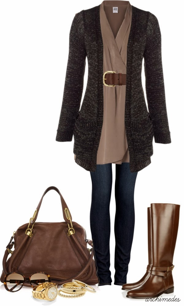 Jacket, Blouse, Belt, Jeans, brown Leather Handbag,  Leather Knee Boots and Accessories