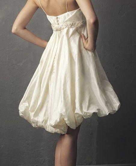 Vestido de Novia Corto Escote Corazon Falda Globo
