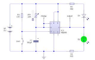 Rangkaian Monostable IC 555 | Rangkaian Timer