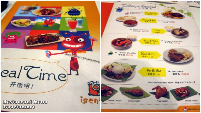 Igentis Tropicana City Mall restaurant menu