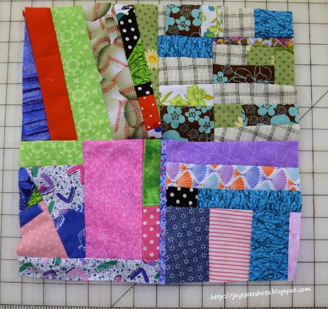http://joysjotsshots.blogspot.com/2015/07/quilt-shot-block-35-4-patch-crumb.html