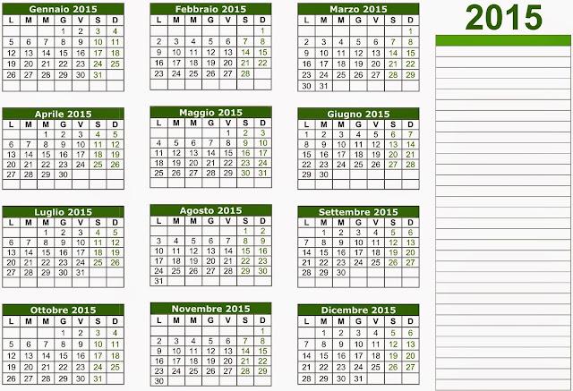 calendario 2015 annuale da stampare