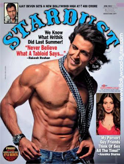 Muscular Shirtless Hrithik Roshan on the cover of Stardust April 2013