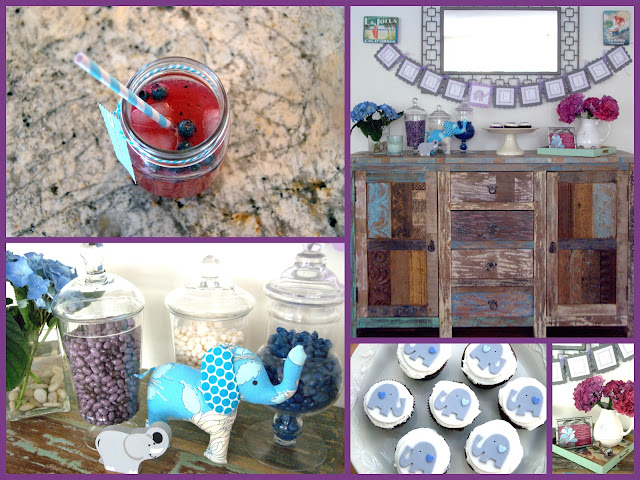baby elephant purple and blue baby shower theme blogher