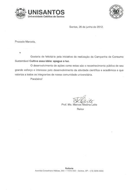 CARTA DE RECONHECIMENTO ENCAMINHADA PELO REITOR DA UNISANTOS PARA MARCELO GIL - 2012