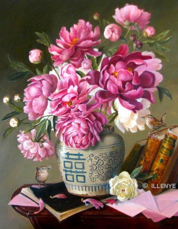 flores-decorativas-pintadas-al-oleo