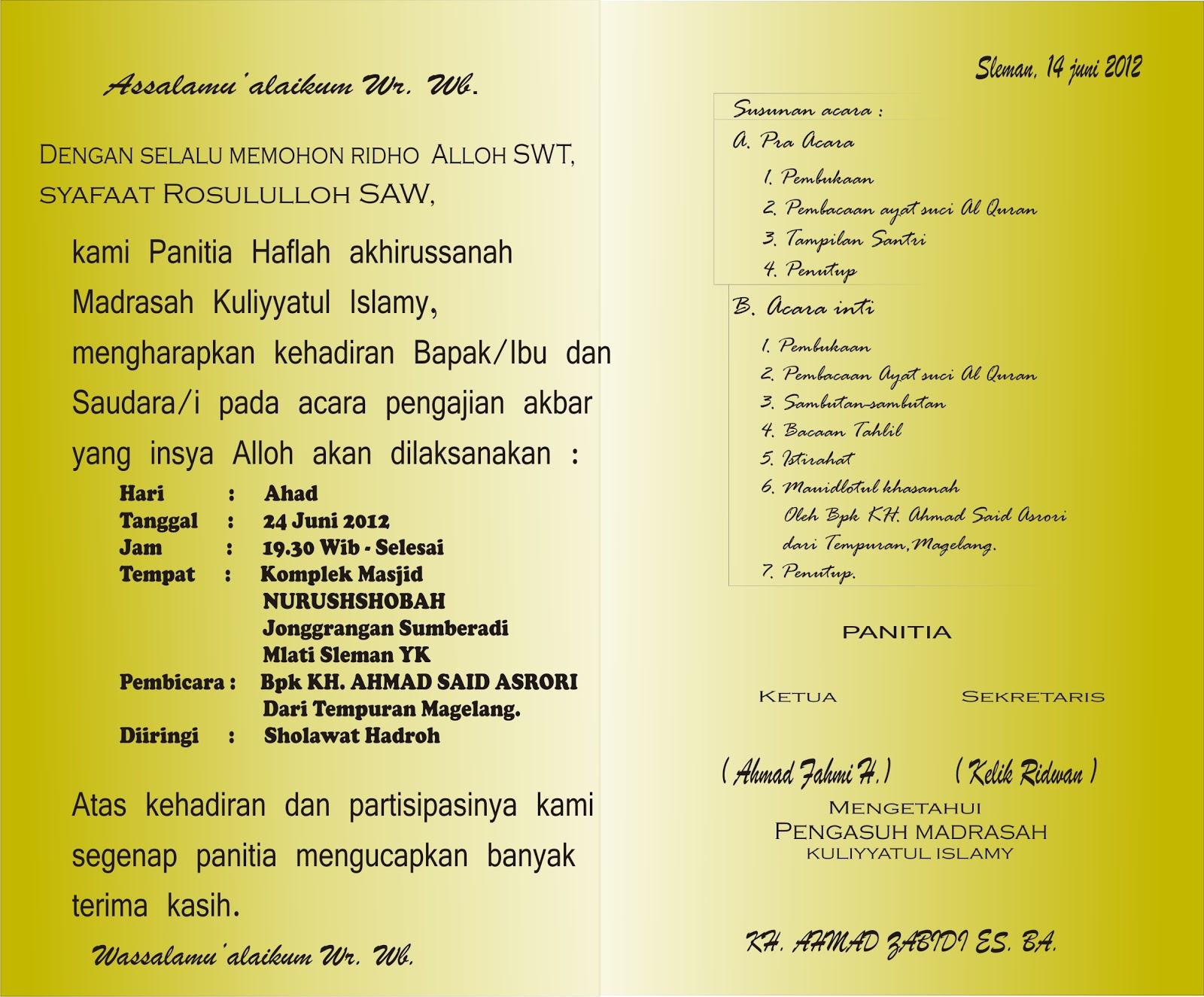 Sedangkan berikut adalah contoh surat undangan Pengajian Akbar bagian ...