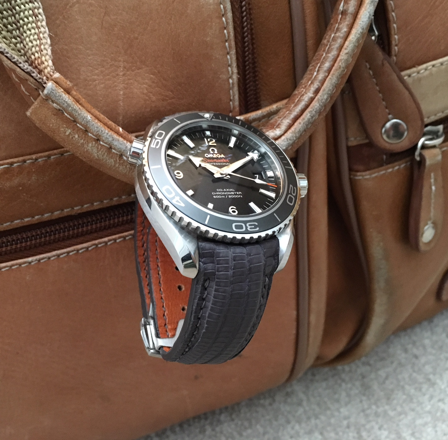 John's great looking Omega Planet Ocean on Commando Grey SuperMatte Teju Lizard strap