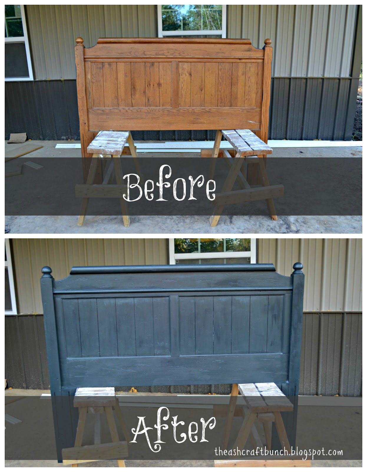 Diy chalk painted bed for Painting a headboard