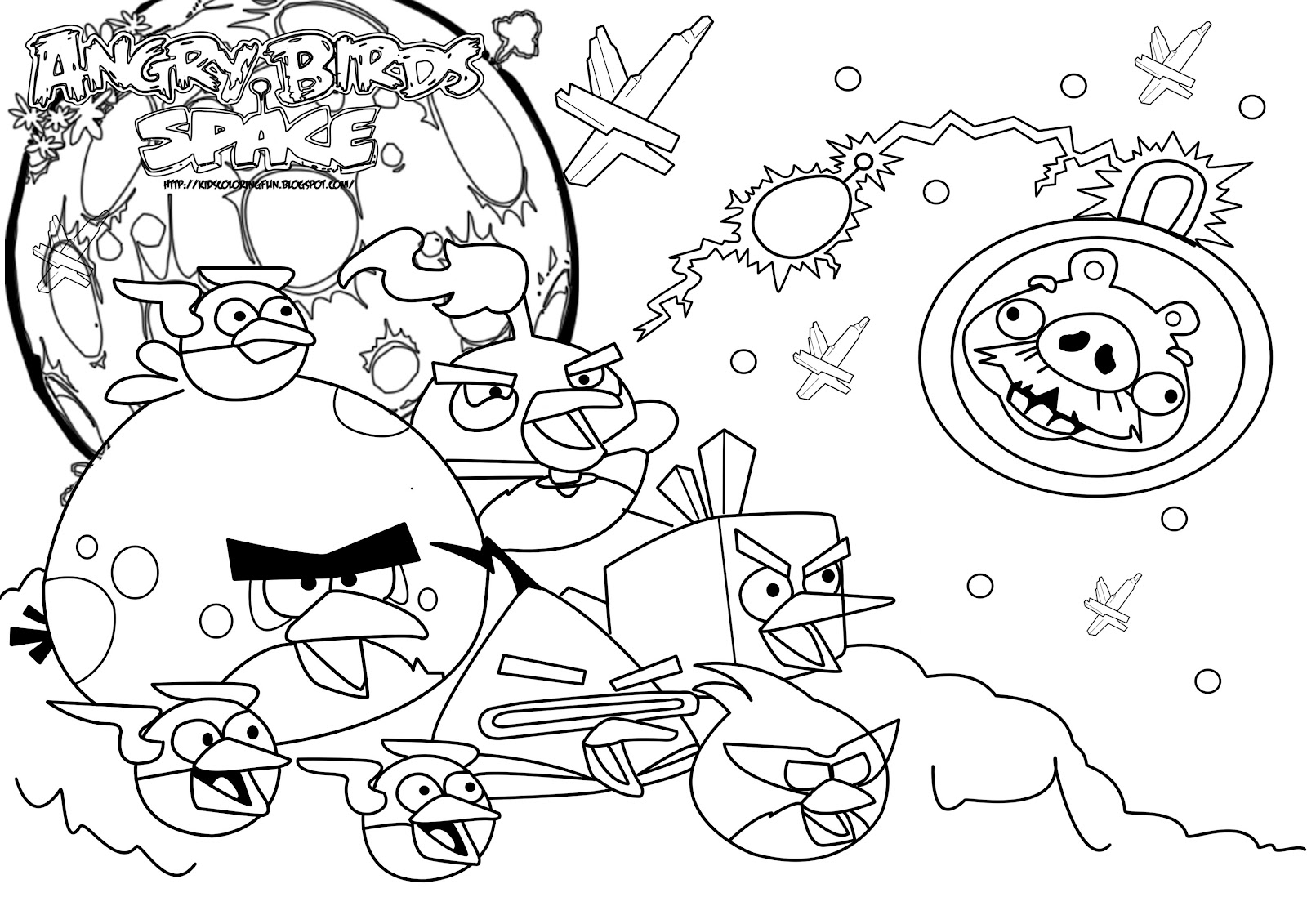 Characters Coloring Pages Angry Bird Space Cute Cartoon Wallpaper
