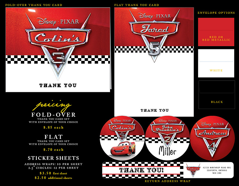 Nealon Design CARS Birthday Invitation Suite