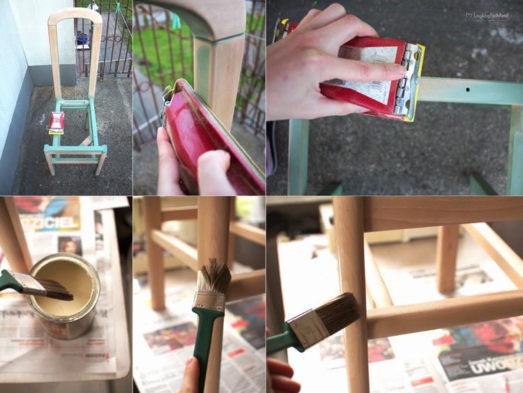 DIY, zrób to sam, przemiana krzesła, zmaina tapicerki na krześle, drewniane krzesło z szarym obiciem - tutorial, szlifujemy krzesło papierem ściernym, zabezpieczamy drewno lakierem