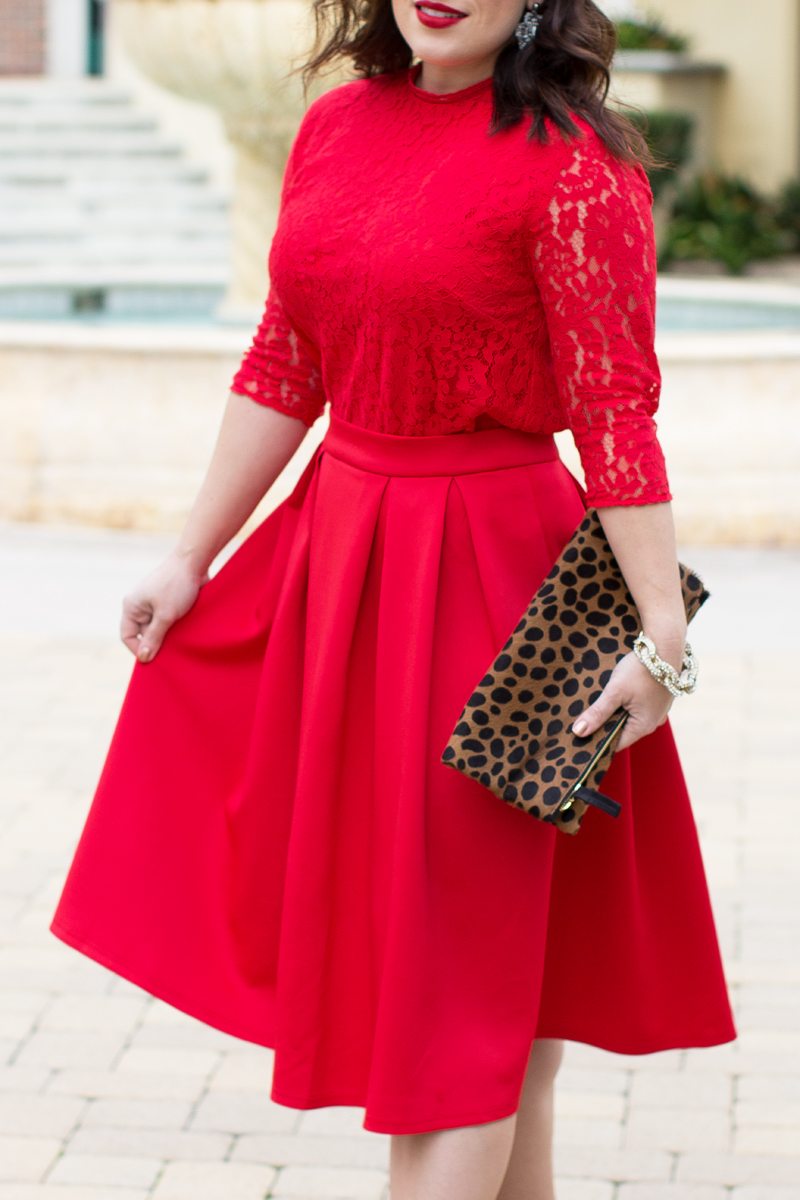 red lace shirt, red full skirt, christmas outfit ideas