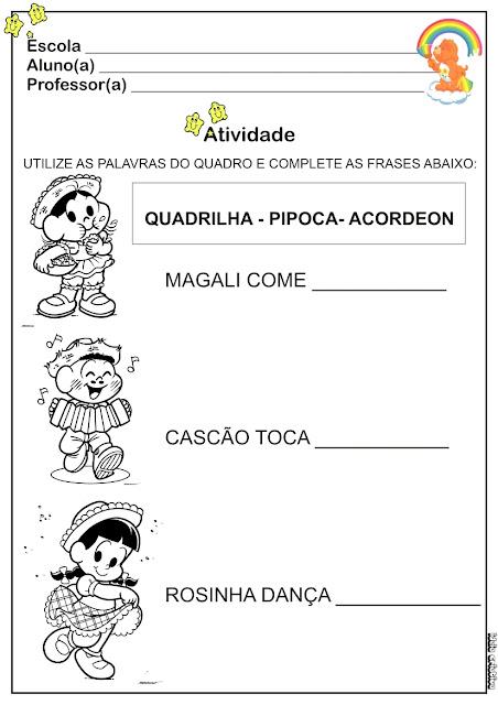 Atividades Festas Juninas Turma da Mônica