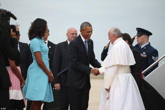 Pope Francis arrives in America for historic visit.