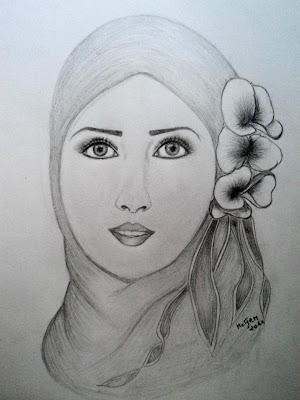 رسم فتاة محجبة بالرصاص