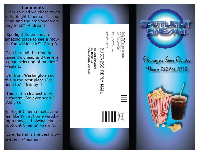 movie theater tri fold brochure outside