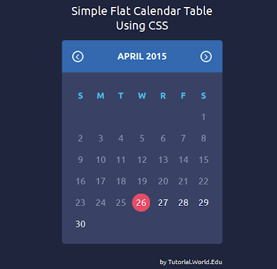 How to create a simple flat calendar table using css and html online website design - Css display table tutorial ...