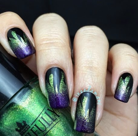 disney maleficent gradient flame nails