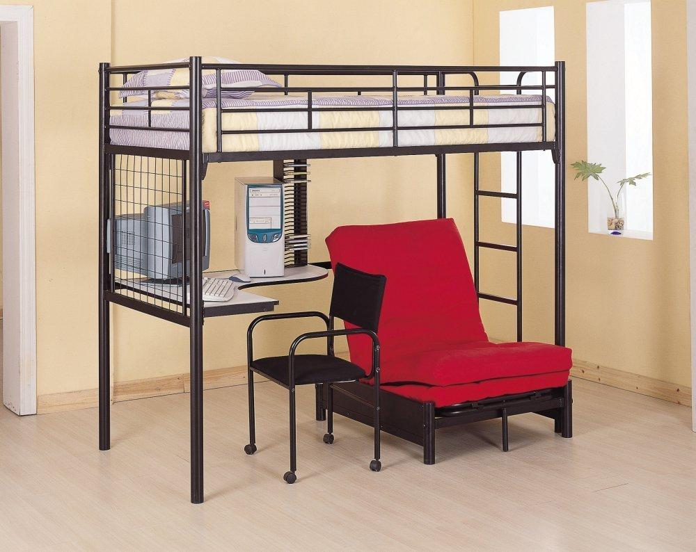Metal loft bed with corner desk - Twin Loft Bed With Corner Workstation Desk Futon Underneath