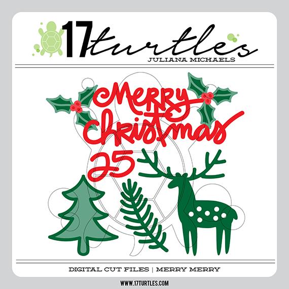 Merry Merry 17turtles Digital Cut File