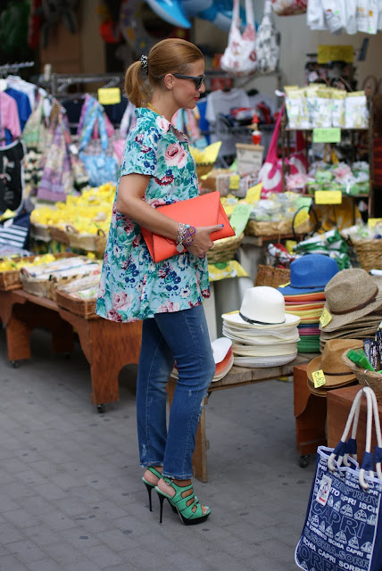 Kenzo floral shirt, Orange clutch, Zara jeans, Fashion and Cookies, fashion blog
