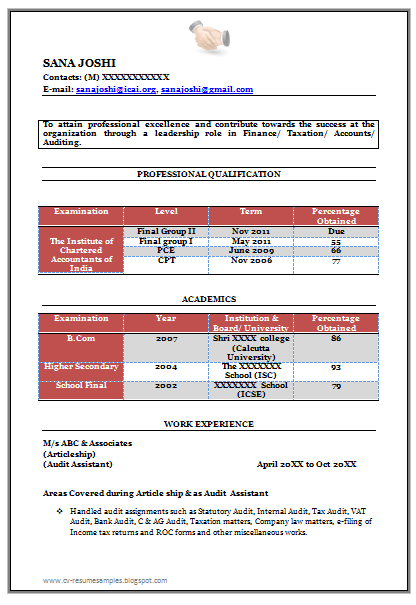 Free Download Link Fresher Chartered Accountant Resume Sample Doc (2 Pages)