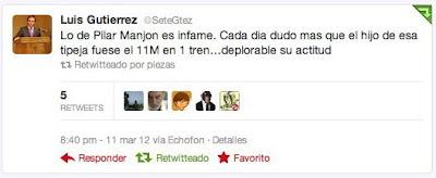 Tuit de Luis Gutiérrez, dirigente de NNGG del PP en Majadahonda