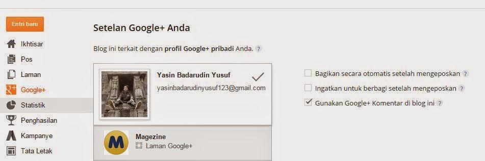 gunakan google + komentar