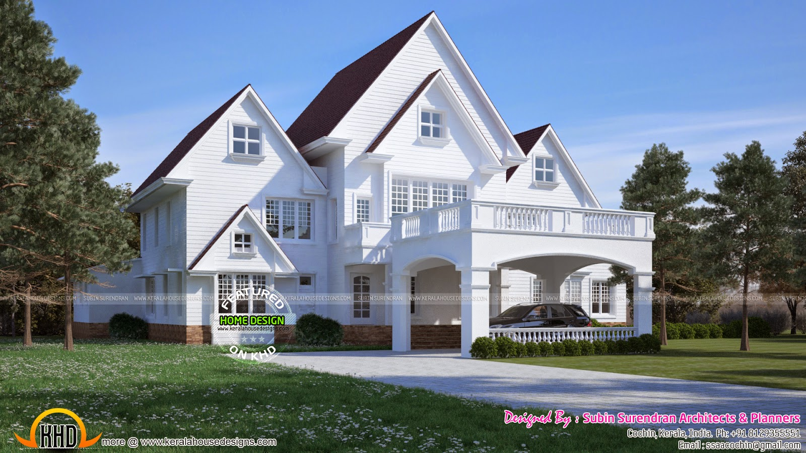 Super luxury 5 bedroom attached american model house for New american style house plans
