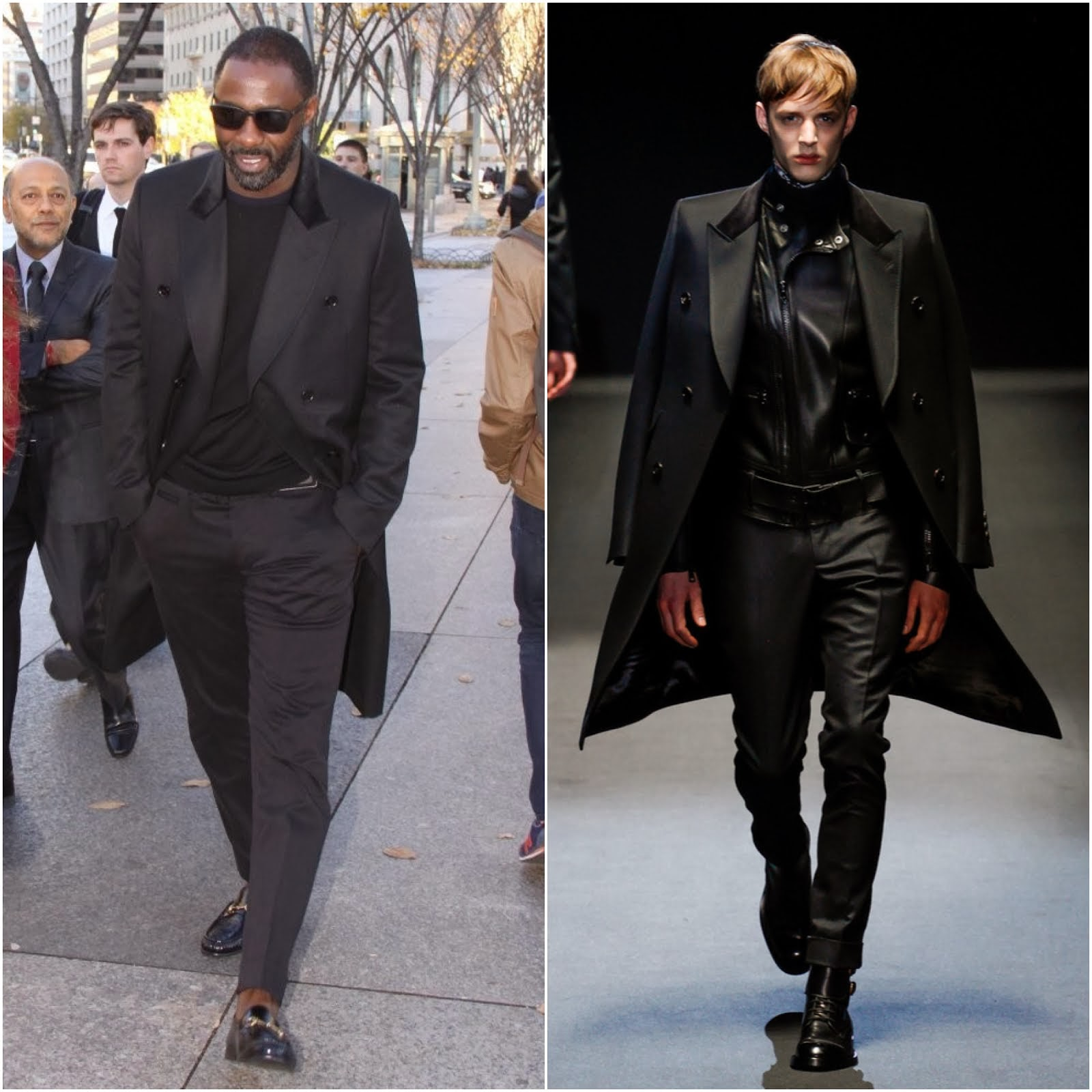 00O00 Menswear Blog: Idris Elba in Gucci FW2013 black wool equestrian coat - 'Mandela: Long Walk to Freedom' Screening, Washington D.C. November 2013