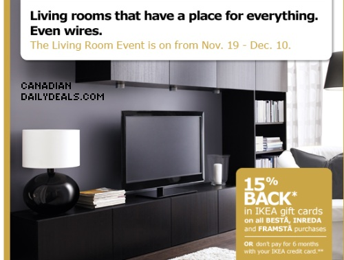 Canadian Daily Deals IKEA Living Room Event 15 Back In