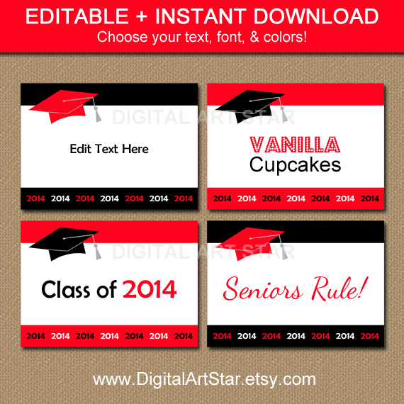Editable red and black DIY graduation food labels