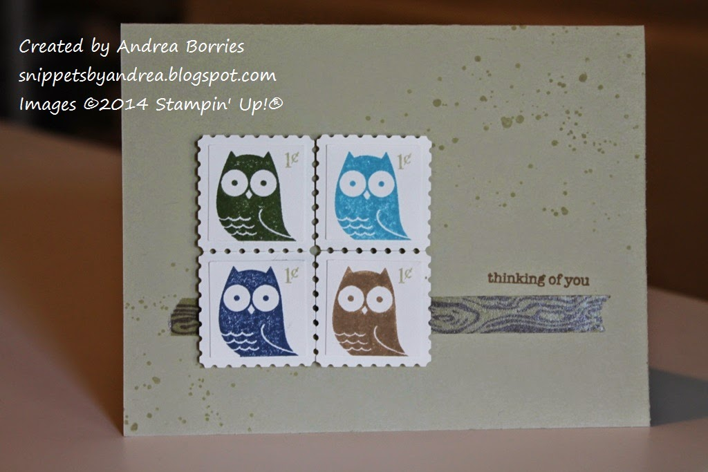Grayish tan card with stamped splatters on the background. Focal image is four owls stamped in different colors, punched out with a square punch then layered on punched out postage stamp shapes. The layered pieces are adhered to the card in a square to look like a block of postage stamps.