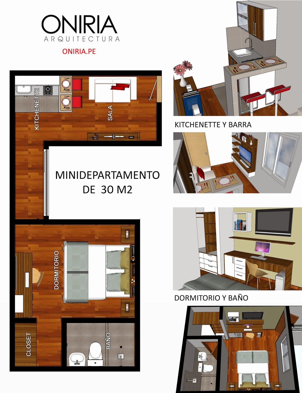 Oniria dise o de minidepartamento de 30 m2 for Diseno minidepartamento
