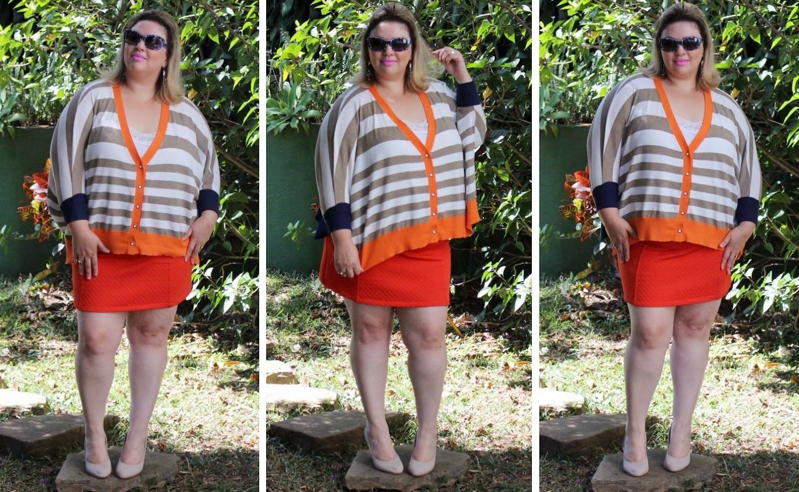 malha, matelasse, saia, skirt, laranja, orange, look me, look, plus size, moda, fashion, fashion mimi, look do dia, look of the day, prada, óculos, glasses, shoes, sapato nude, brás, kara plus size, gato, gordinha