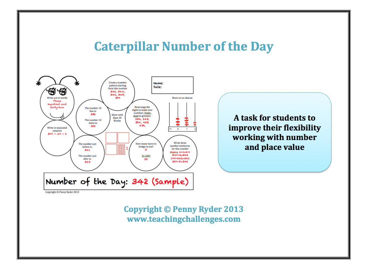 Teaching Challenges Number of the Day – Number of the Day Worksheet