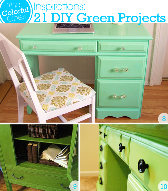 DIY Green Projects - Hi Gloss Seafoam Green Dresser, Painted Antique Cabinet, Lime Green Painted Craft Table Desk