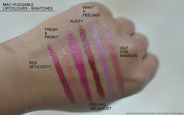 MAC Huggable Lipcolour Lipsticks Swatches Red Necessity Fresh Frisky Feeling Amorous Rusty What a Feeling Out for Passion