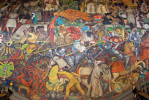 Joyeros ramos cuadros de historia de mexico for Diego rivera la conquista mural