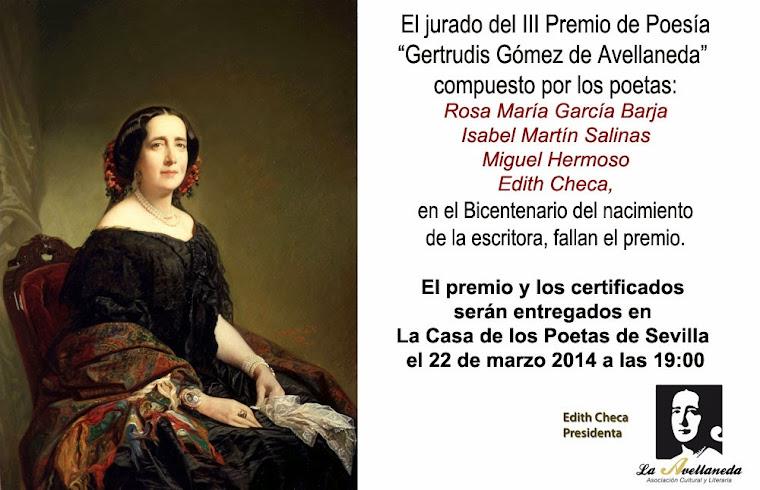 "III PREMIO DE POESÍA ""GERTRUDIS GÓMEZ DE AVELLANEDA"""