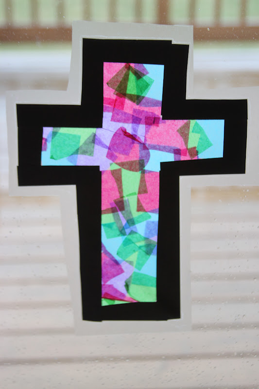 Kara 39 s creative place stained glass tissue paper cross for Cross craft for kids