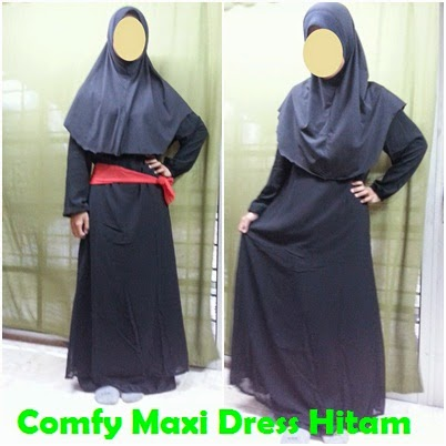 Colourful Comfy Maxi Dress JS1364 - Hitam
