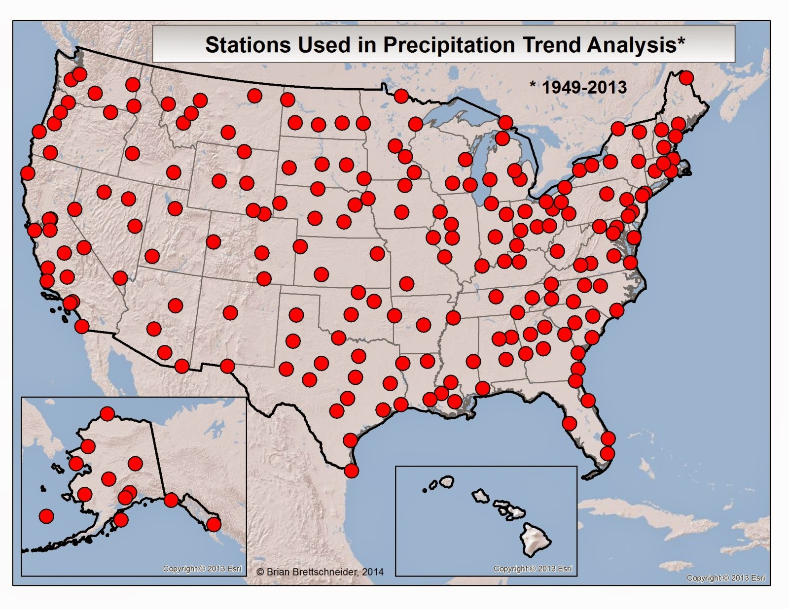 Locations Of Airport Stations With Complete Precipitation Data From 1949 2013 A Total Of 207 Stations Met The Criteria