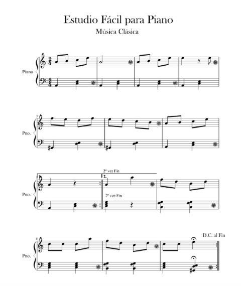 M sica clasica estudio f cil para piano n 1 partituras for Musica clasica para entrenar