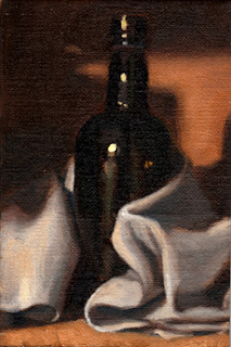 Oil painting of an antique black-glass whisky bottle partially wrapped in a tea towel.