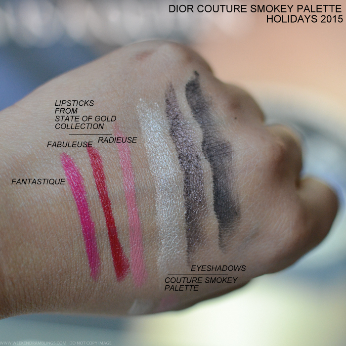 Dior Holiday 2015 Makeup Collection Swatches Diorific Mat Velvet Lipsticks Fantastique 770 Fabuleuse 750 Radieuse 430 Couture Smoky Eyes Lips Palette