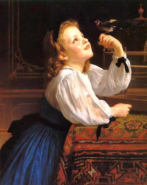 cute girl,cute bird, art history